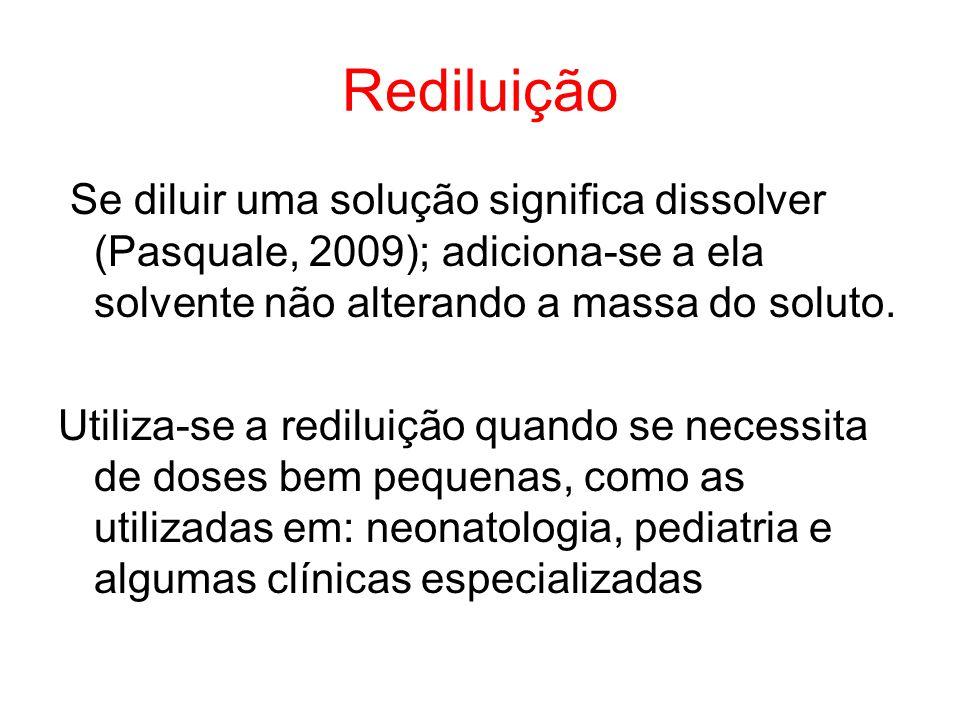 Rediluição Se diluir uma solução significa dissolver (Pasquale, 2009); adiciona-se a ela solvente não alterando a massa do soluto. Utiliza-se a redilu
