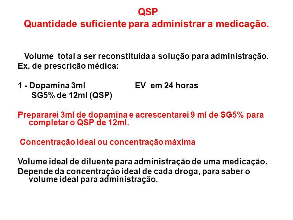 QSP Quantidade suficiente para administrar a medicação. Volume total a ser reconstituída a solução para administração. Ex. de prescrição médica: 1 - D