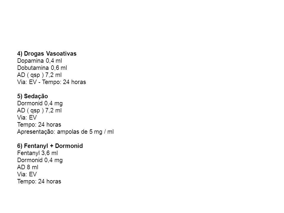 4) Drogas Vasoativas Dopamina 0,4 ml Dobutamina 0,6 ml AD ( qsp ) 7,2 ml Via: EV - Tempo: 24 horas 5) Sedação Dormonid 0,4 mg AD ( qsp ) 7,2 ml Via: E
