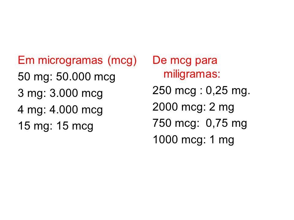 Em microgramas (mcg) 50 mg: 50.000 mcg 3 mg: 3.000 mcg 4 mg: 4.000 mcg 15 mg: 15 mcg De mcg para miligramas: 250 mcg : 0,25 mg. 2000 mcg: 2 mg 750 mcg