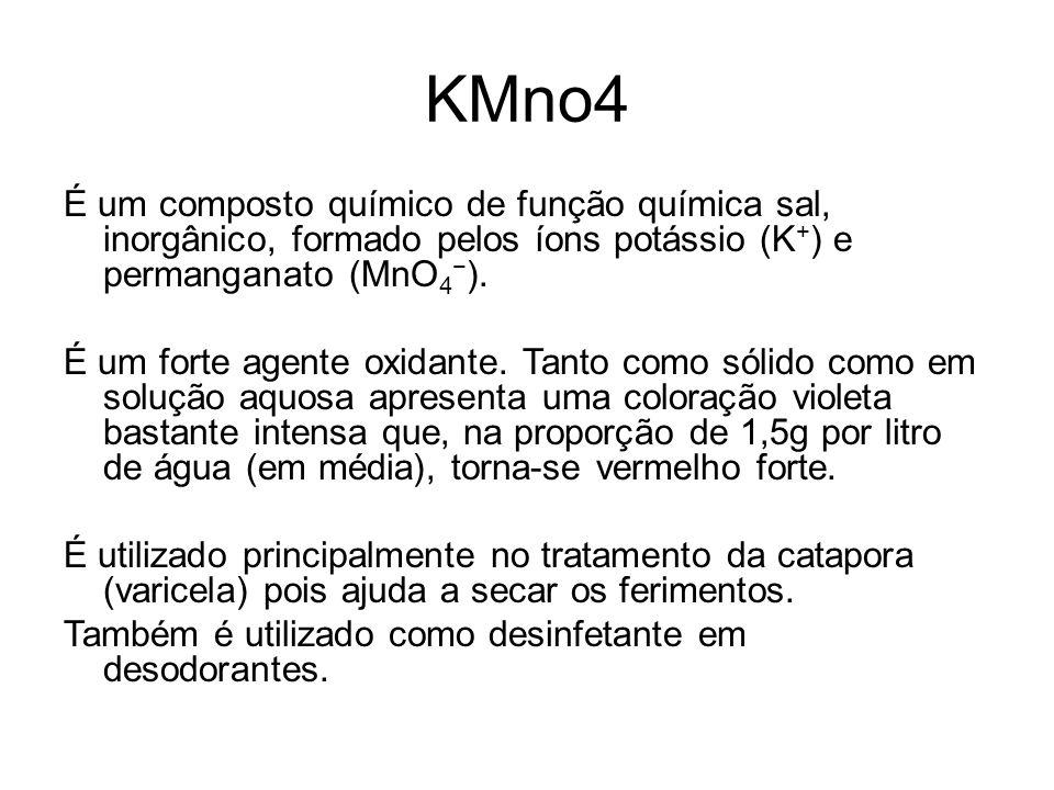 KMno4 É um composto químico de função química sal, inorgânico, formado pelos íons potássio (K + ) e permanganato (MnO 4 − ). É um forte agente oxidant