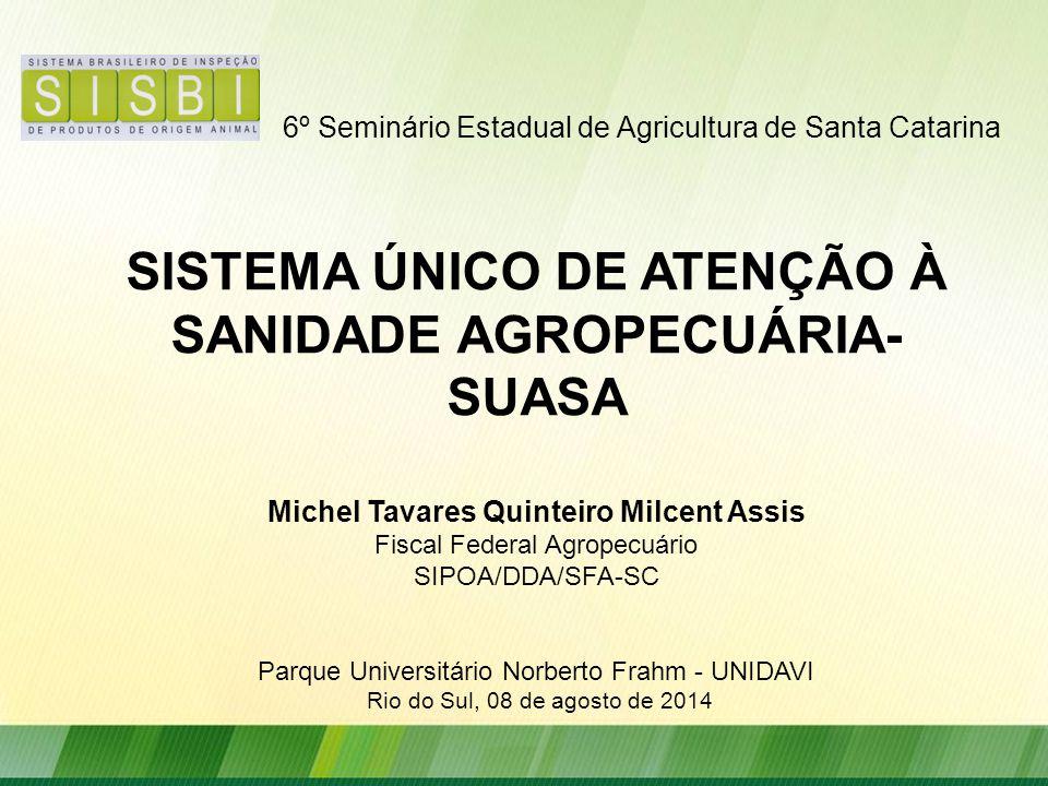 6º Seminário Estadual de Agricultura de Santa Catarina SISTEMA ÚNICO DE ATENÇÃO À SANIDADE AGROPECUÁRIA- SUASA Michel Tavares Quinteiro Milcent Assis