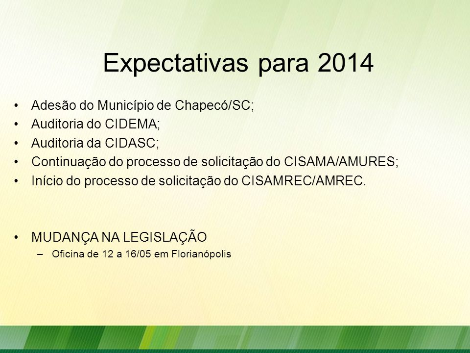 Expectativas para 2014 Adesão do Município de Chapecó/SC; Auditoria do CIDEMA; Auditoria da CIDASC; Continuação do processo de solicitação do CISAMA/AMURES; Início do processo de solicitação do CISAMREC/AMREC.