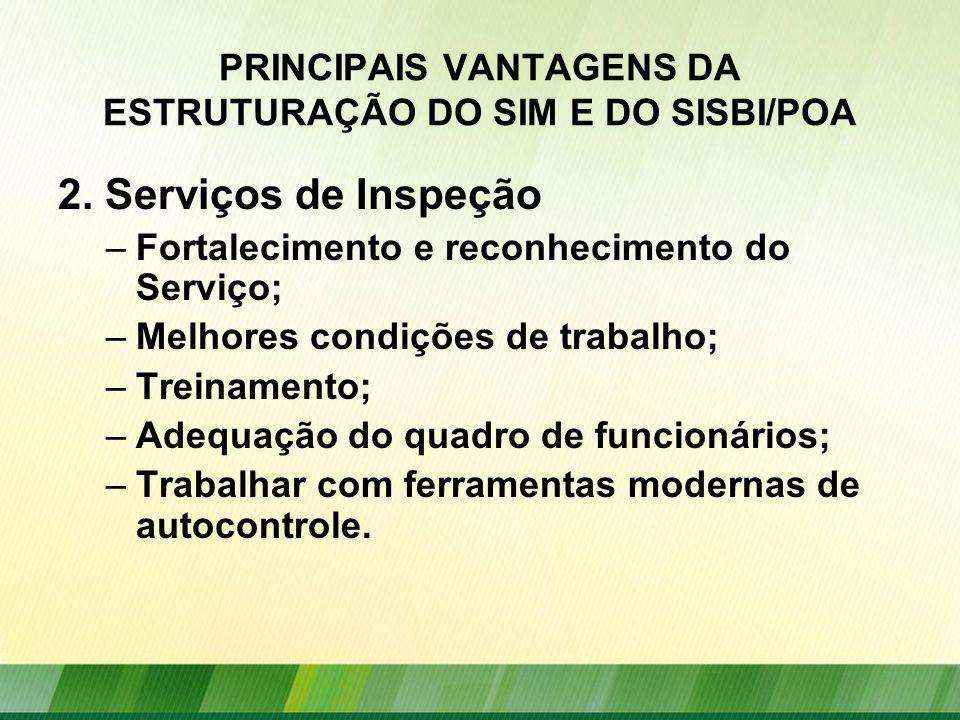 PRINCIPAIS VANTAGENS DA ESTRUTURAÇÃO DO SIM E DO SISBI/POA 2.