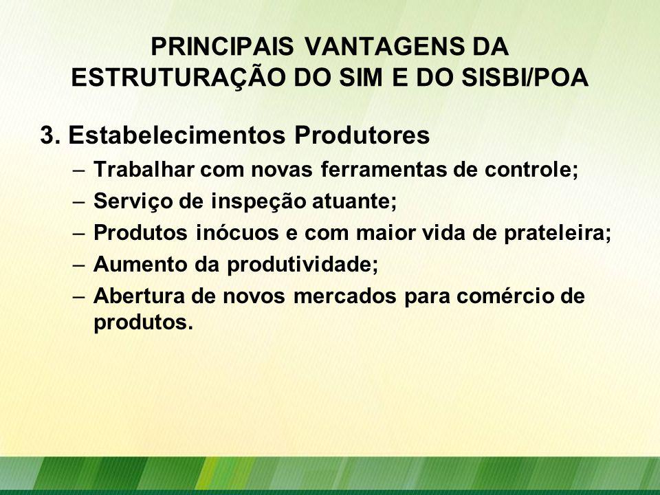 PRINCIPAIS VANTAGENS DA ESTRUTURAÇÃO DO SIM E DO SISBI/POA 3.