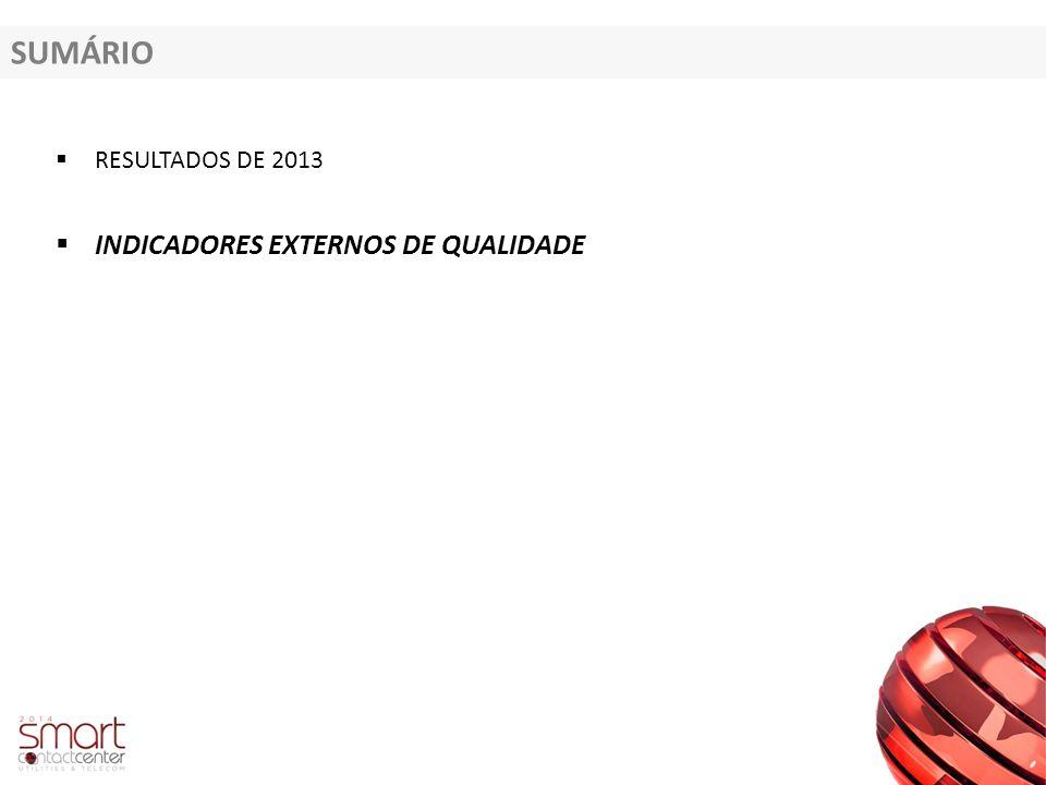 SUMÁRIO  RESULTADOS DE 2013  INDICADORES EXTERNOS DE QUALIDADE