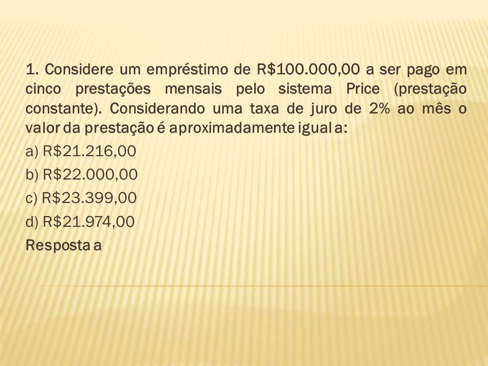 1. Considere um empréstimo de R$100.000,00 a ser pago em cinco prestações mensais pelo sistema Price (prestação constante). Considerando uma taxa de j