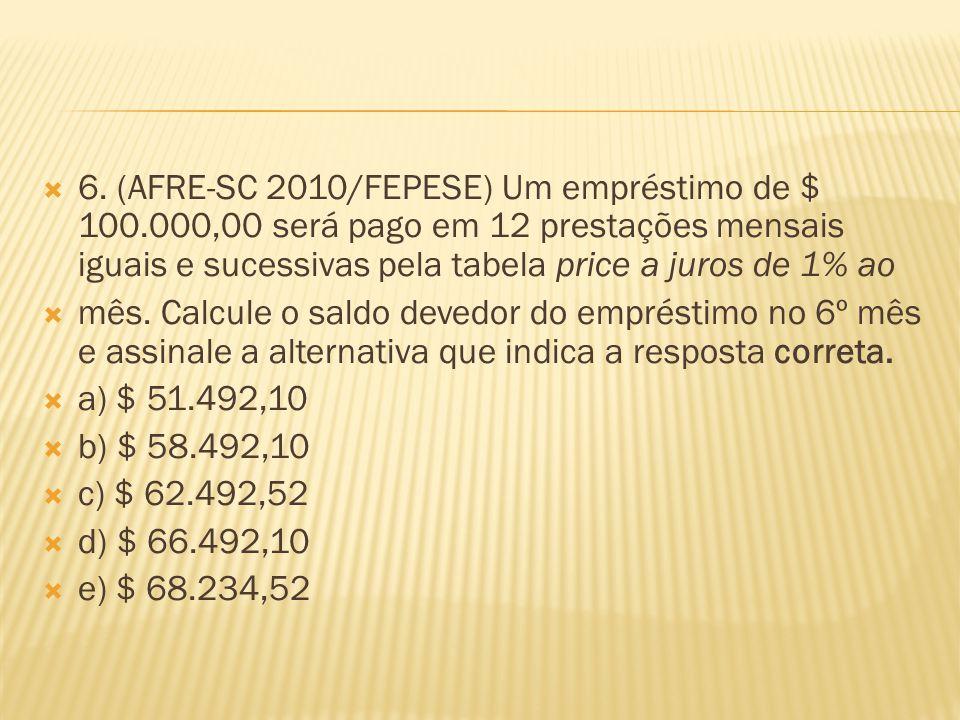  6. (AFRE-SC 2010/FEPESE) Um empréstimo de $ 100.000,00 será pago em 12 prestações mensais iguais e sucessivas pela tabela price a juros de 1% ao  m