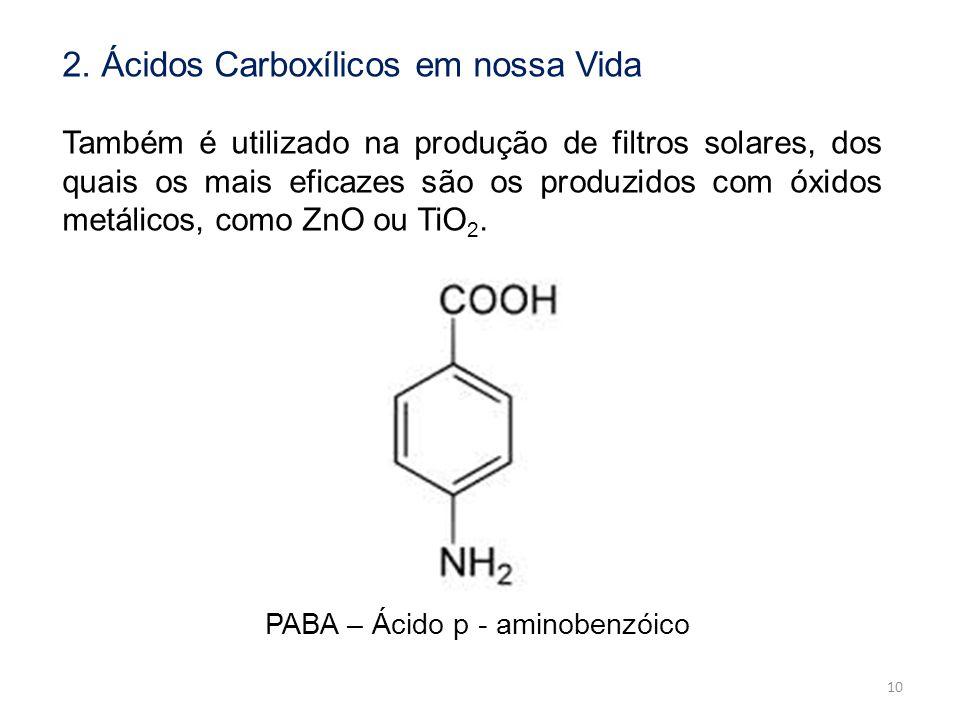 2. Ácidos Carboxílicos em nossa Vida Também é utilizado na produção de filtros solares, dos quais os mais eficazes são os produzidos com óxidos metáli