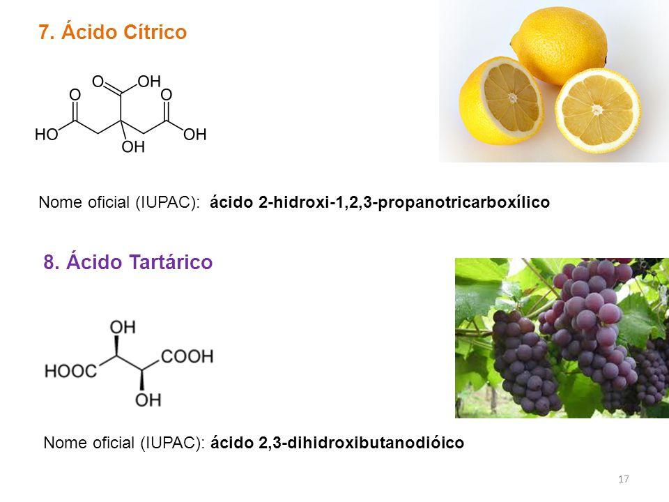 7. Ácido Cítrico Nome oficial (IUPAC): ácido 2-hidroxi-1,2,3-propanotricarboxílico 8. Ácido Tartárico Nome oficial (IUPAC): ácido 2,3-dihidroxibutanod