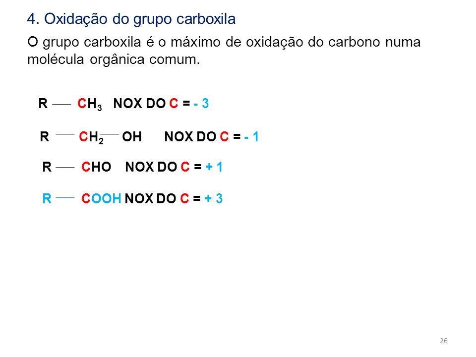 O grupo carboxila é o máximo de oxidação do carbono numa molécula orgânica comum. R CH 3 NOX DO C = - 3 R CH 2 OH NOX DO C = - 1 R CHO NOX DO C = + 1