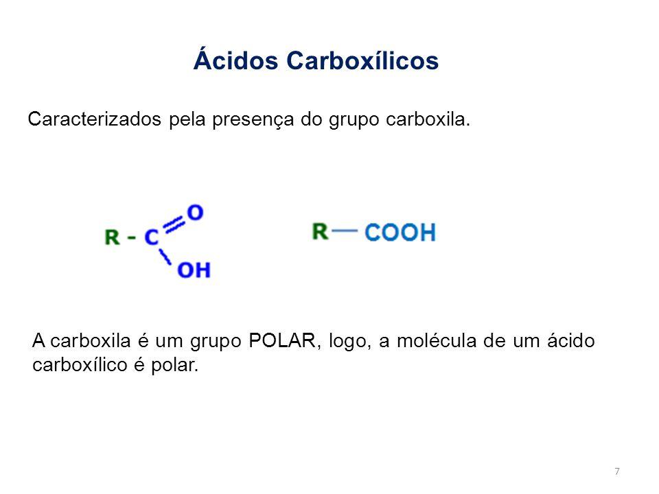 Ácidos Carboxílicos Caracterizados pela presença do grupo carboxila. A carboxila é um grupo POLAR, logo, a molécula de um ácido carboxílico é polar. 7