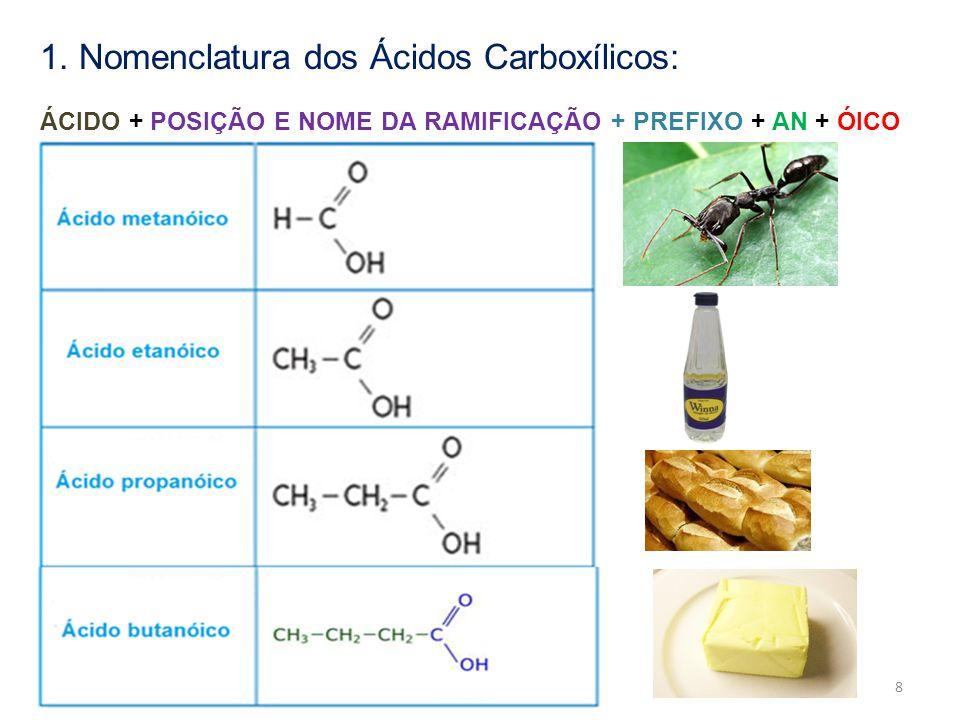 1. Nomenclatura dos Ácidos Carboxílicos: ÁCIDO + POSIÇÃO E NOME DA RAMIFICAÇÃO + PREFIXO + AN + ÓICO 8