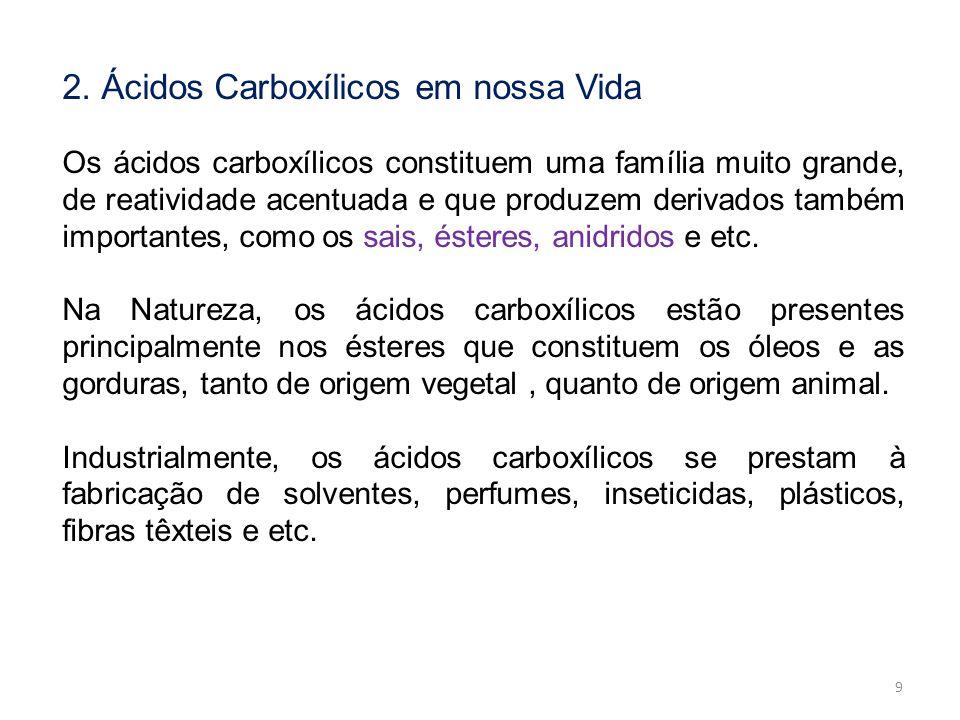 2. Ácidos Carboxílicos em nossa Vida Os ácidos carboxílicos constituem uma família muito grande, de reatividade acentuada e que produzem derivados tam