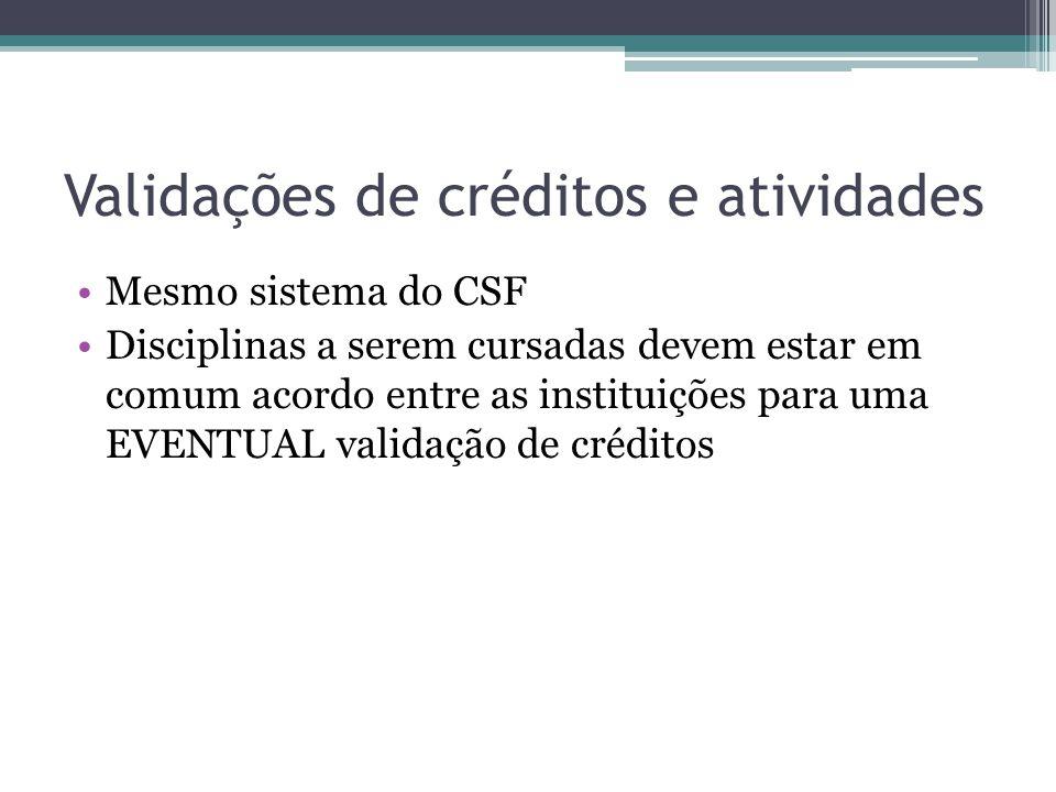 Validações de créditos e atividades Mesmo sistema do CSF Disciplinas a serem cursadas devem estar em comum acordo entre as instituições para uma EVENTUAL validação de créditos