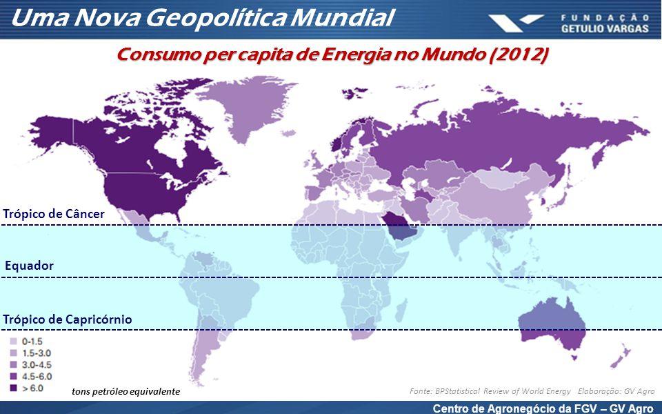 Centro de Agronegócio da FGV – GV Agro tons petróleo equivalente Fonte: BPStatistical Review of World Energy Elaboração: GV Agro Uma Nova Geopolítica Mundial Consumo per capita de Energia no Mundo (2012) Trópico de Câncer Trópico de Capricórnio Equador