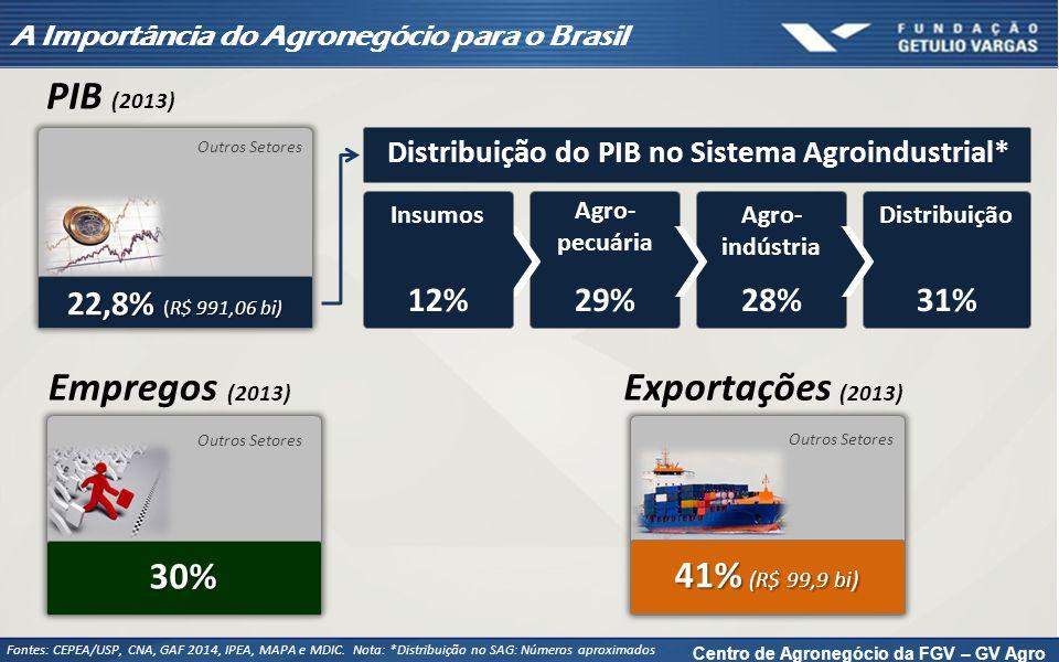 31% Distribuição A Importância do Agronegócio para o Brasil Fontes: CEPEA/USP, CNA, GAF 2014, IPEA, MAPA e MDIC. Nota: *Distribuição no SAG: Números a