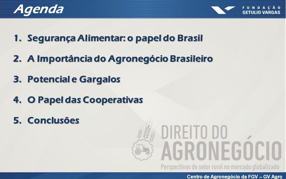 Centro de Agronegócio da FGV – GV Agro Agenda 1.Segurança Alimentar: o papel do Brasil 2.A Importância do Agronegócio Brasileiro 3.Potencial e Gargalos 4.O Papel das Cooperativas 5.Conclusões