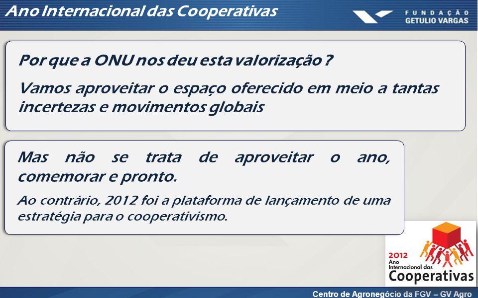 Centro de Agronegócio da FGV – GV Agro Ano Internacional das Cooperativas Por que a ONU nos deu esta valorização ? Vamos aproveitar o espaço oferecido