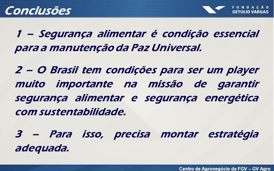 1 – Segurança alimentar é condição essencial para a manutenção da Paz Universal. 2 – O Brasil tem condições para ser um player muito importante na mis