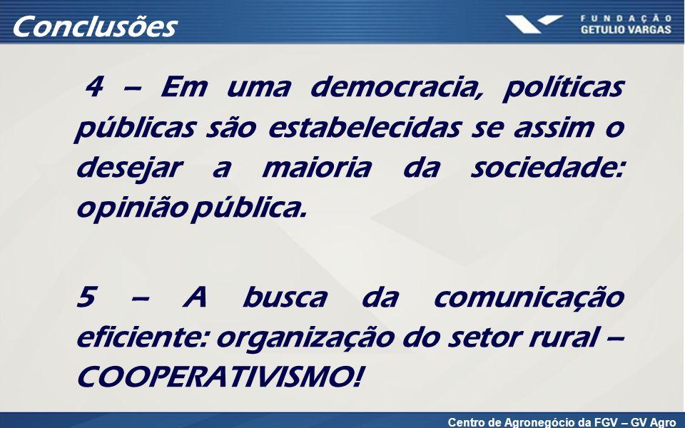 Centro de Agronegócio da FGV – GV Agro 4 – Em uma democracia, políticas públicas são estabelecidas se assim o desejar a maioria da sociedade: opinião pública.