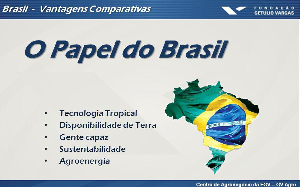 Centro de Agronegócio da FGV – GV Agro Brasil - Vantagens Comparativas Tecnologia Tropical Disponibilidade de Terra Gente capaz Sustentabilidade Agroenergia