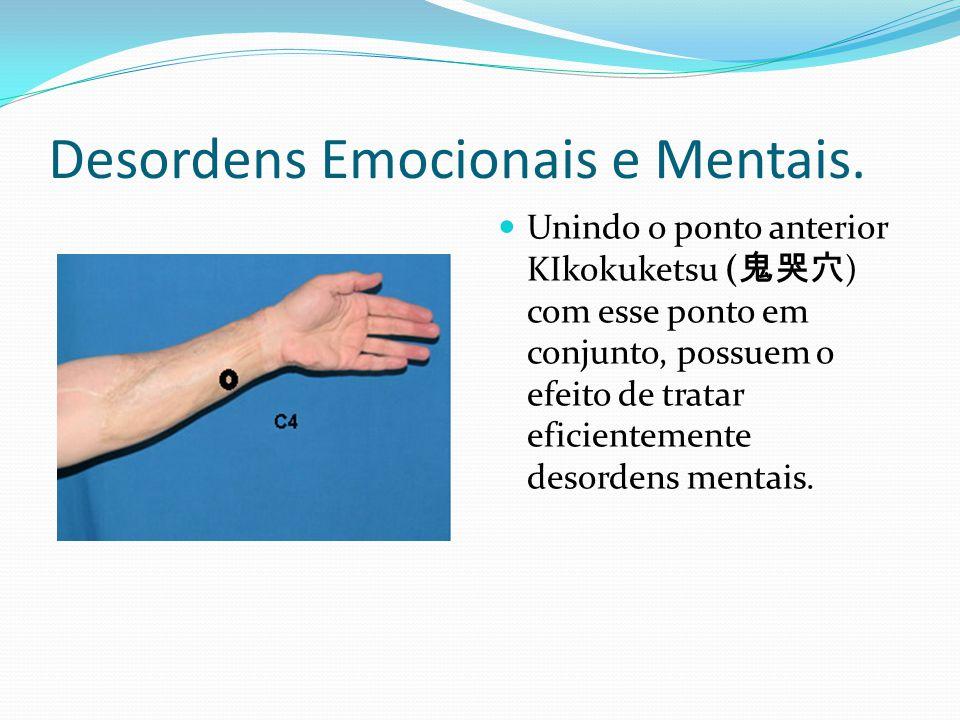 Desordens Emocionais e Mentais. Unindo o ponto anterior KIkokuketsu ( 鬼哭穴 ) com esse ponto em conjunto, possuem o efeito de tratar eficientemente deso
