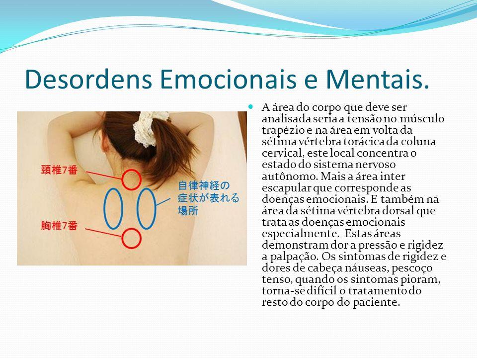Desordens Emocionais e Mentais. A área do corpo que deve ser analisada seria a tensão no músculo trapézio e na área em volta da sétima vértebra toráci