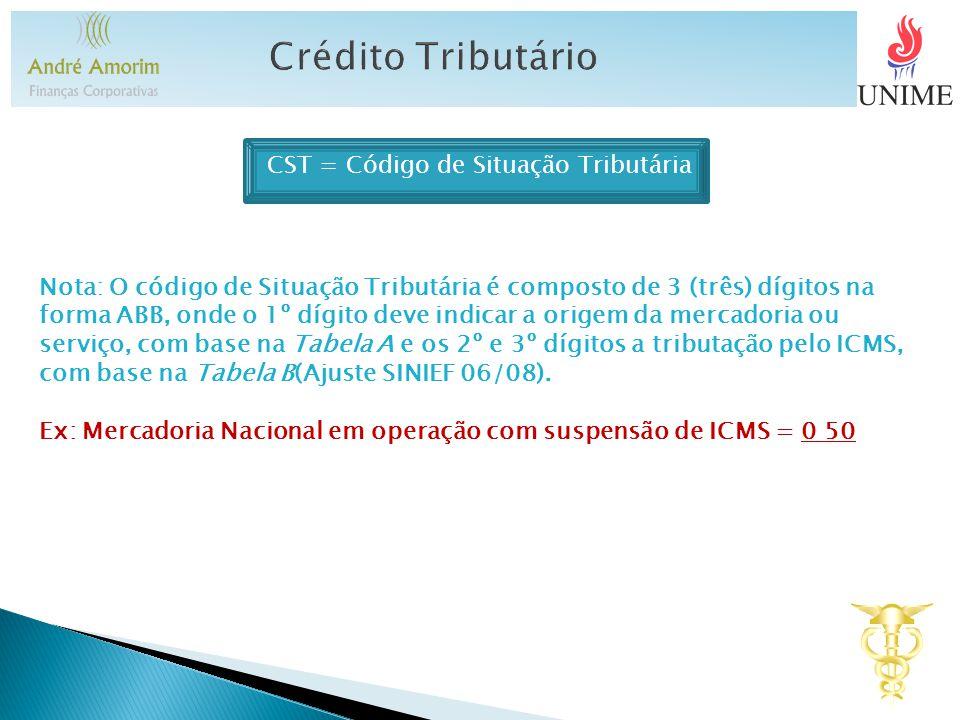 CST = Código de Situação Tributária Nota: O código de Situação Tributária é composto de 3 (três) dígitos na forma ABB, onde o 1º dígito deve indicar a origem da mercadoria ou serviço, com base na Tabela A e os 2º e 3º dígitos a tributação pelo ICMS, com base na Tabela B(Ajuste SINIEF 06/08).