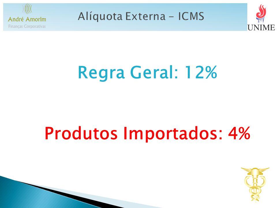 Regra Geral: 12% Produtos Importados: 4%
