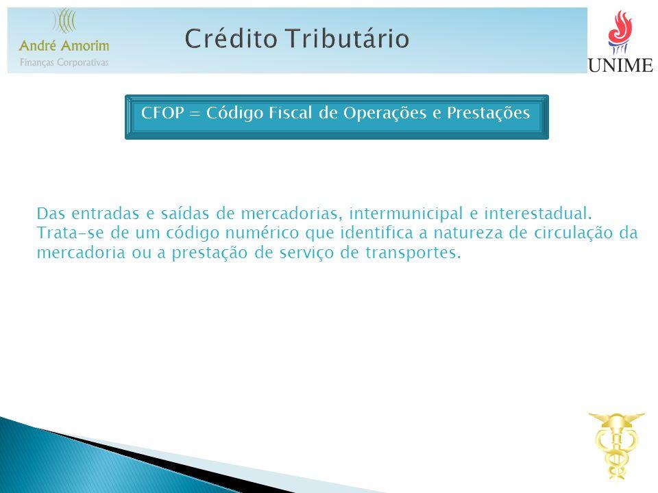 CFOP = Código Fiscal de Operações e Prestações Das entradas e saídas de mercadorias, intermunicipal e interestadual. Trata-se de um código numérico qu