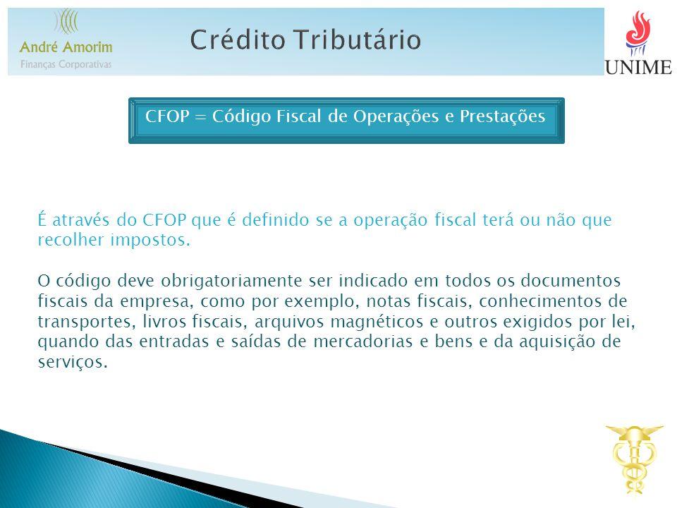 CFOP = Código Fiscal de Operações e Prestações É através do CFOP que é definido se a operação fiscal terá ou não que recolher impostos.