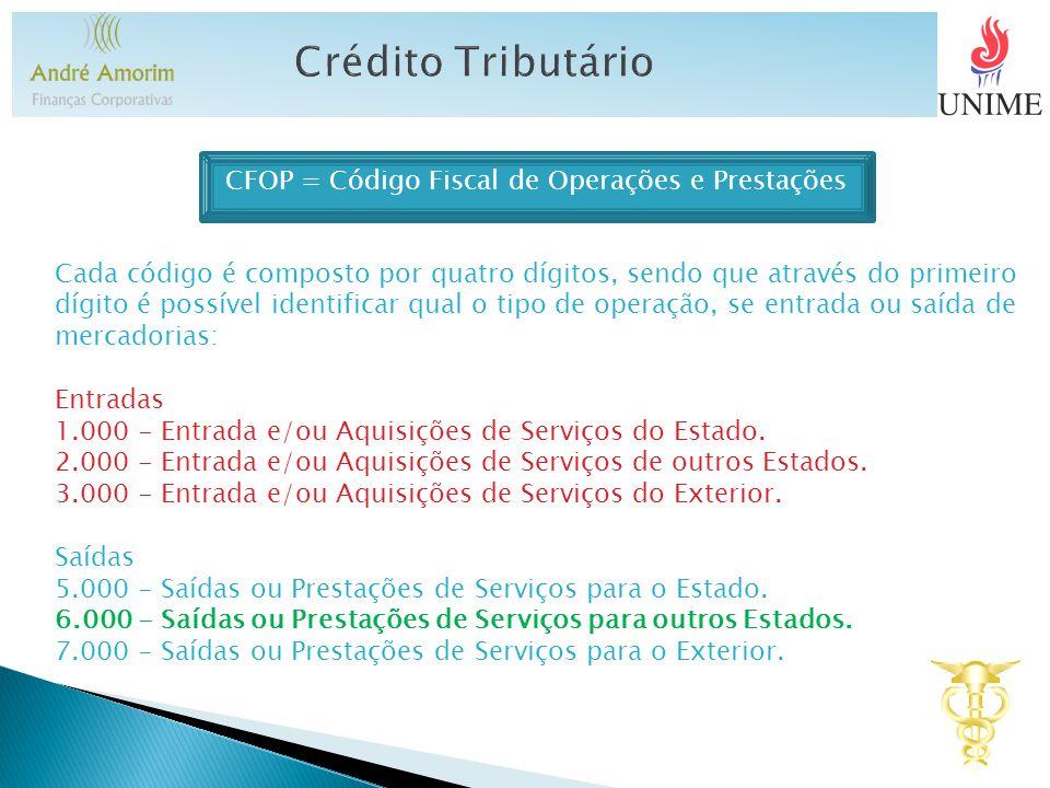 CFOP = Código Fiscal de Operações e Prestações Cada código é composto por quatro dígitos, sendo que através do primeiro dígito é possível identificar