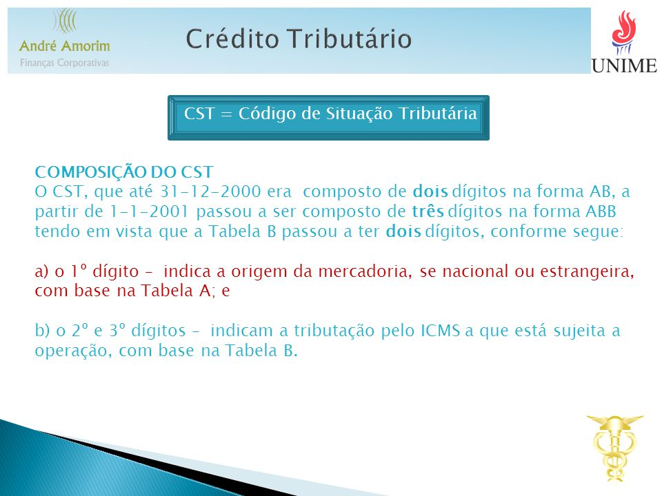 CST = Código de Situação Tributária COMPOSIÇÃO DO CST O CST, que até 31-12-2000 era composto de dois dígitos na forma AB, a partir de 1-1-2001 passou a ser composto de três dígitos na forma ABB tendo em vista que a Tabela B passou a ter dois dígitos, conforme segue: a) o 1º dígito – indica a origem da mercadoria, se nacional ou estrangeira, com base na Tabela A; e b) o 2º e 3º dígitos – indicam a tributação pelo ICMS a que está sujeita a operação, com base na Tabela B.