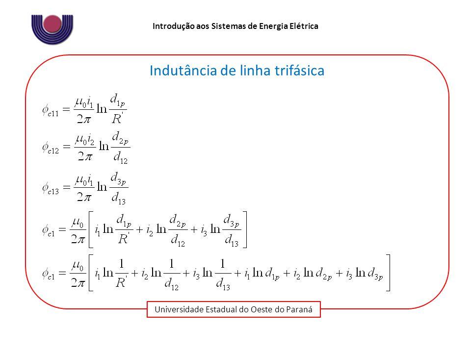 Universidade Estadual do Oeste do Paraná Introdução aos Sistemas de Energia Elétrica Indutância de linha trifásica