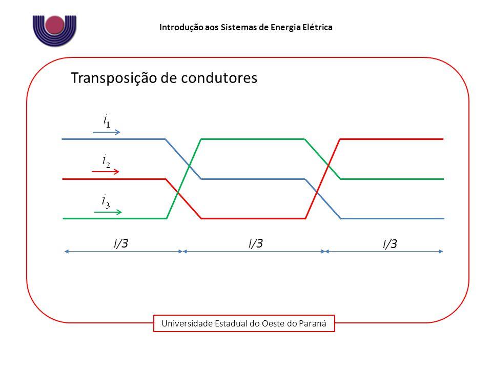 Universidade Estadual do Oeste do Paraná Introdução aos Sistemas de Energia Elétrica Transposição de condutores l/ 3