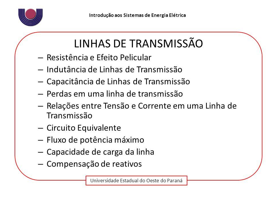 Universidade Estadual do Oeste do Paraná Introdução aos Sistemas de Energia Elétrica LINHAS DE TRANSMISSÃO – Resistência e Efeito Pelicular – Indutânc