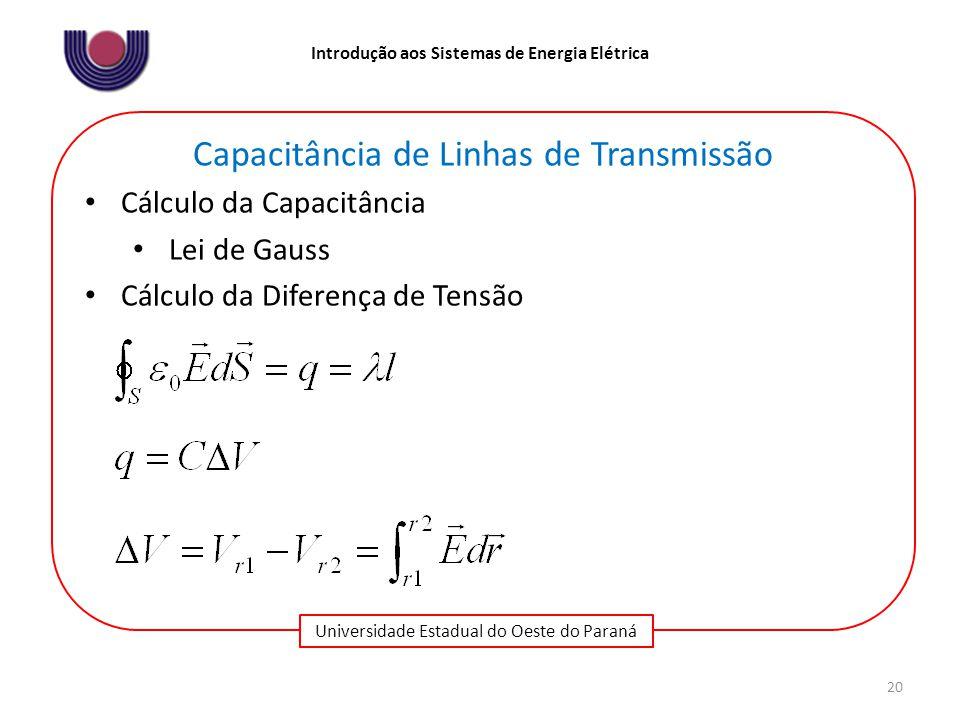 Universidade Estadual do Oeste do Paraná Introdução aos Sistemas de Energia Elétrica 20 Capacitância de Linhas de Transmissão Cálculo da Capacitância Lei de Gauss Cálculo da Diferença de Tensão