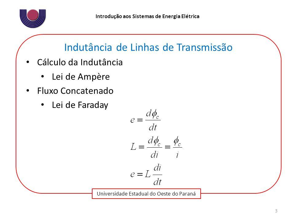Universidade Estadual do Oeste do Paraná Introdução aos Sistemas de Energia Elétrica 3 Indutância de Linhas de Transmissão Cálculo da Indutância Lei de Ampère Fluxo Concatenado Lei de Faraday