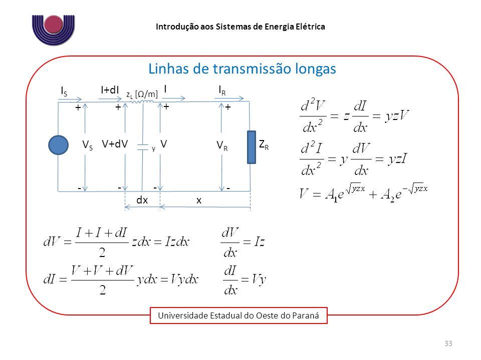 Universidade Estadual do Oeste do Paraná Introdução aos Sistemas de Energia Elétrica 33 Linhas de transmissão longas IRIR VSVS + ZRZR - z L [Ω/m] VRVR ISIS - + V+dV + - I+dI V + - I x dx y