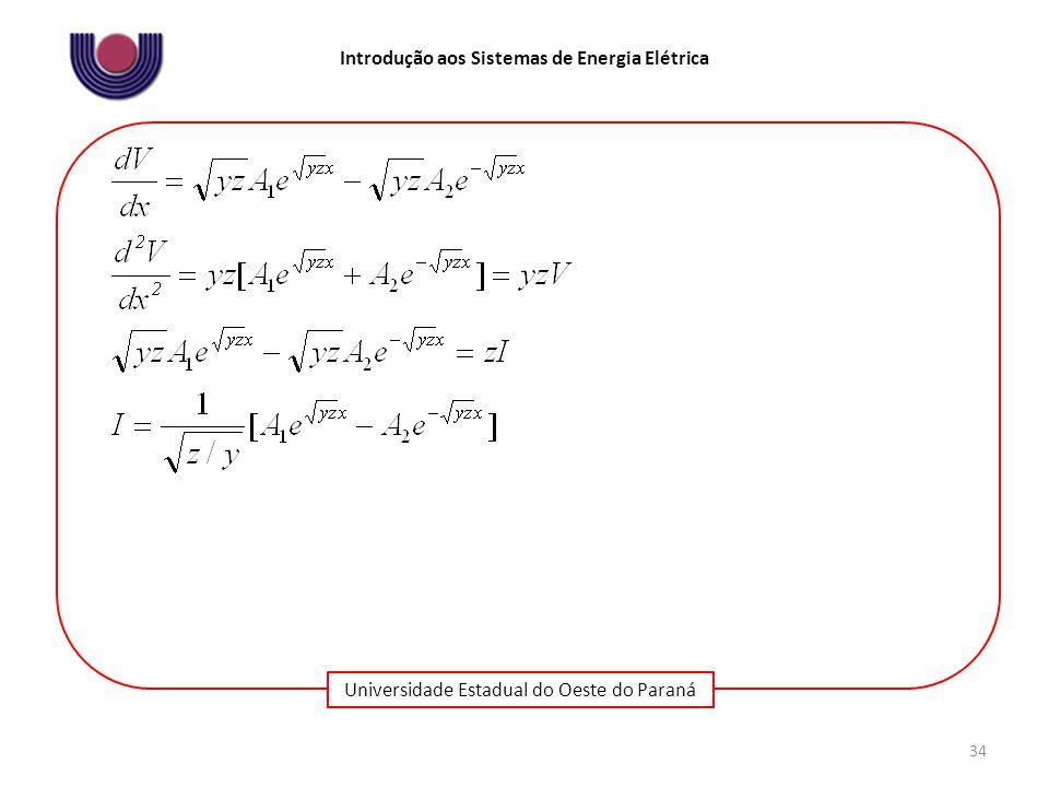 Universidade Estadual do Oeste do Paraná Introdução aos Sistemas de Energia Elétrica 34