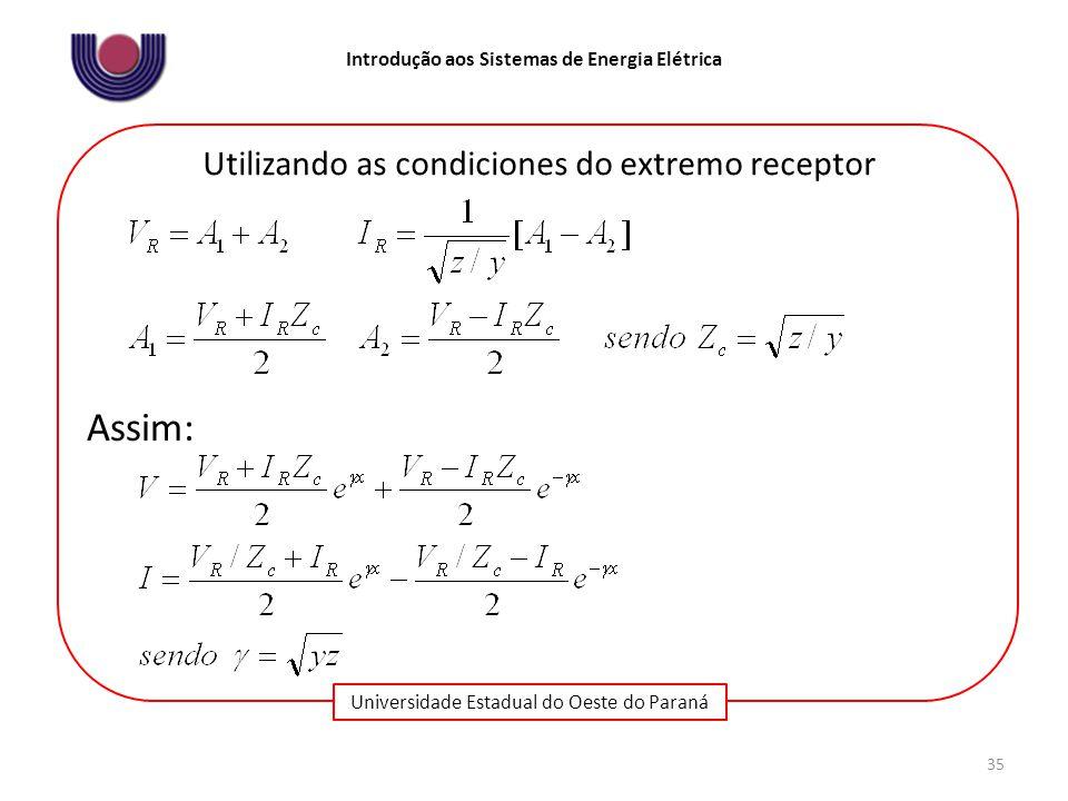 Universidade Estadual do Oeste do Paraná Introdução aos Sistemas de Energia Elétrica 35 Utilizando as condiciones do extremo receptor Assim:
