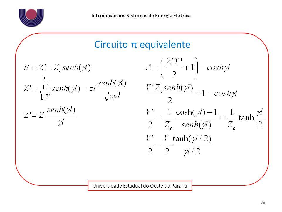 Universidade Estadual do Oeste do Paraná Introdução aos Sistemas de Energia Elétrica 38 Circuito π equivalente