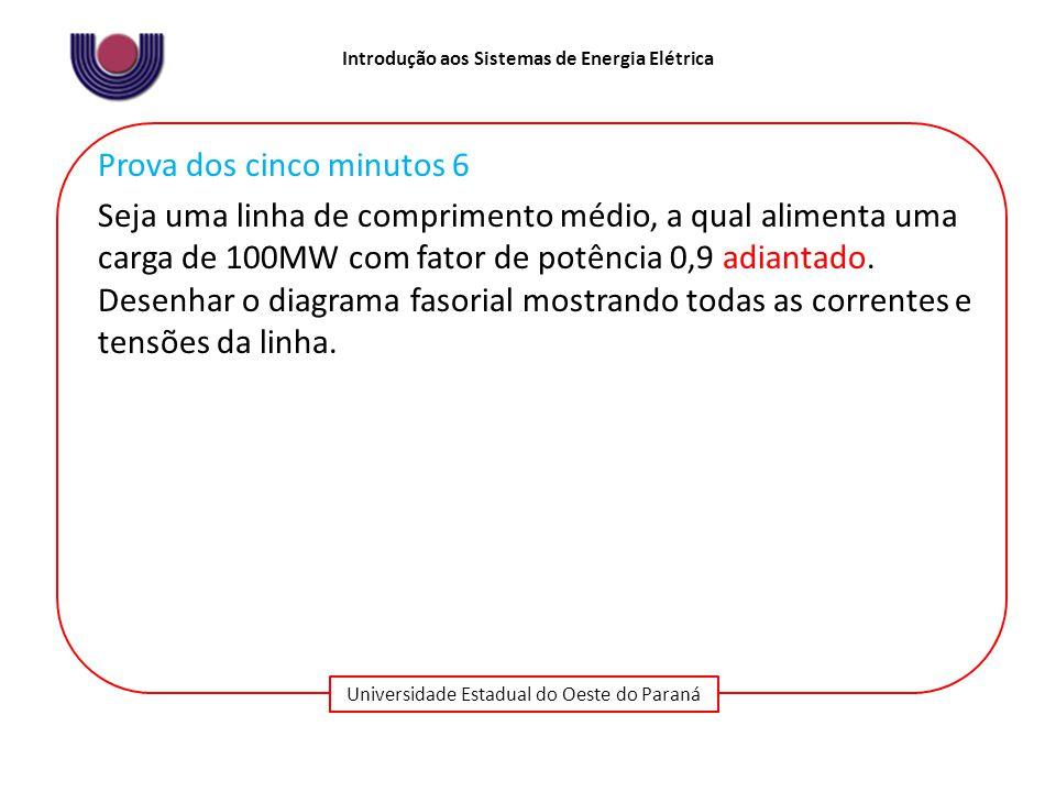 Universidade Estadual do Oeste do Paraná Introdução aos Sistemas de Energia Elétrica Prova dos cinco minutos 6 Seja uma linha de comprimento médio, a qual alimenta uma carga de 100MW com fator de potência 0,9 adiantado.