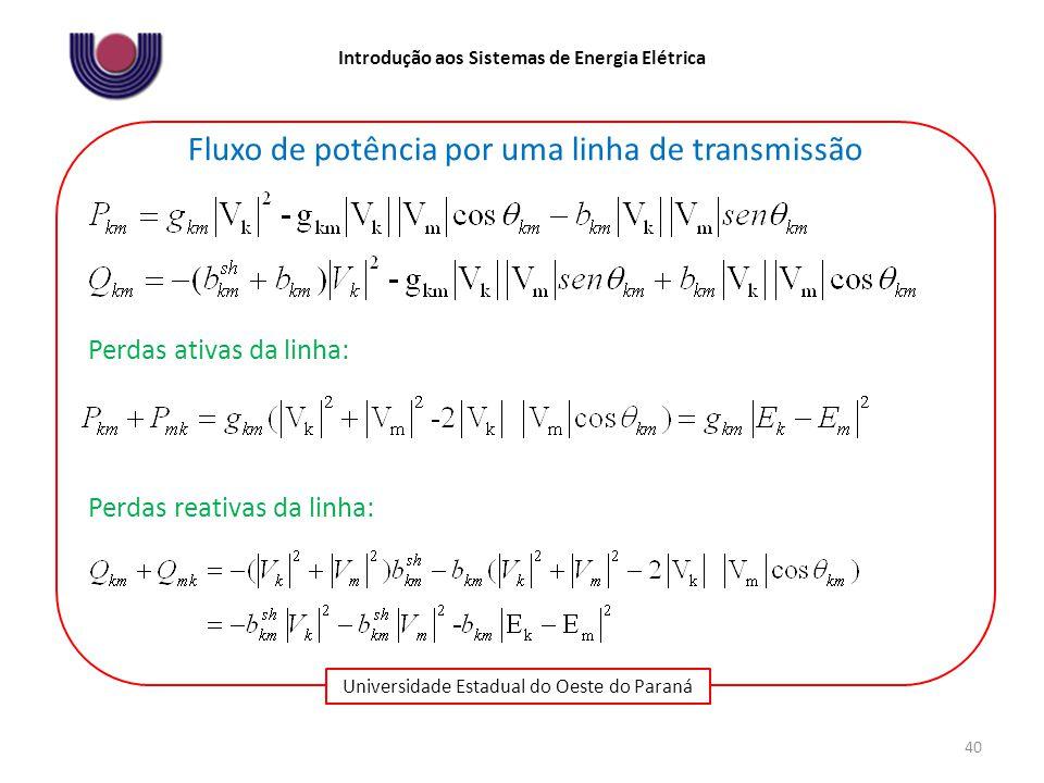 Universidade Estadual do Oeste do Paraná Introdução aos Sistemas de Energia Elétrica 40 Fluxo de potência por uma linha de transmissão Perdas ativas da linha: Perdas reativas da linha: