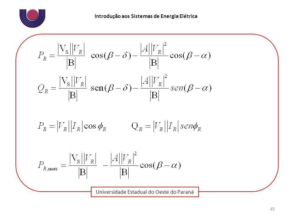 Universidade Estadual do Oeste do Paraná Introdução aos Sistemas de Energia Elétrica 49