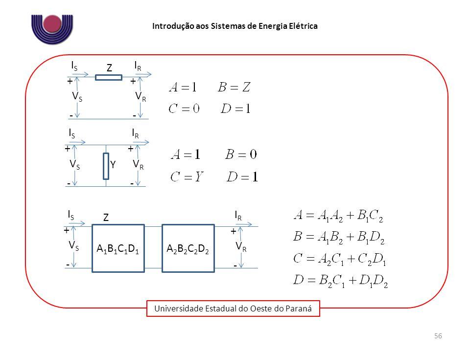 Universidade Estadual do Oeste do Paraná Introdução aos Sistemas de Energia Elétrica 56 VSVS + - ISIS VRVR + - IRIR Z VSVS + - ISIS VRVR + - IRIR Y A1B1C1D1A1B1C1D1 VSVS + - ISIS VRVR + - IRIR Z A2B2C2D2A2B2C2D2