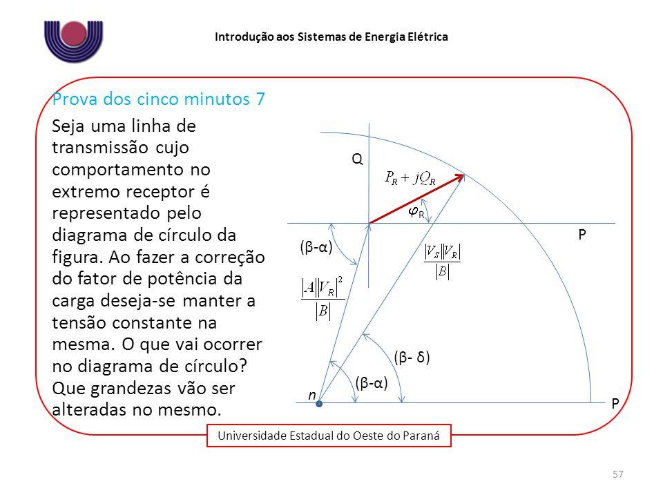 Universidade Estadual do Oeste do Paraná Introdução aos Sistemas de Energia Elétrica 57 (β-α)(β-α) (β- δ) Q P P (β-α)(β-α) RR n Prova dos cinco minutos 7 Seja uma linha de transmissão cujo comportamento no extremo receptor é representado pelo diagrama de círculo da figura.