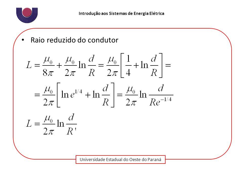 Universidade Estadual do Oeste do Paraná Introdução aos Sistemas de Energia Elétrica Raio reduzido do condutor