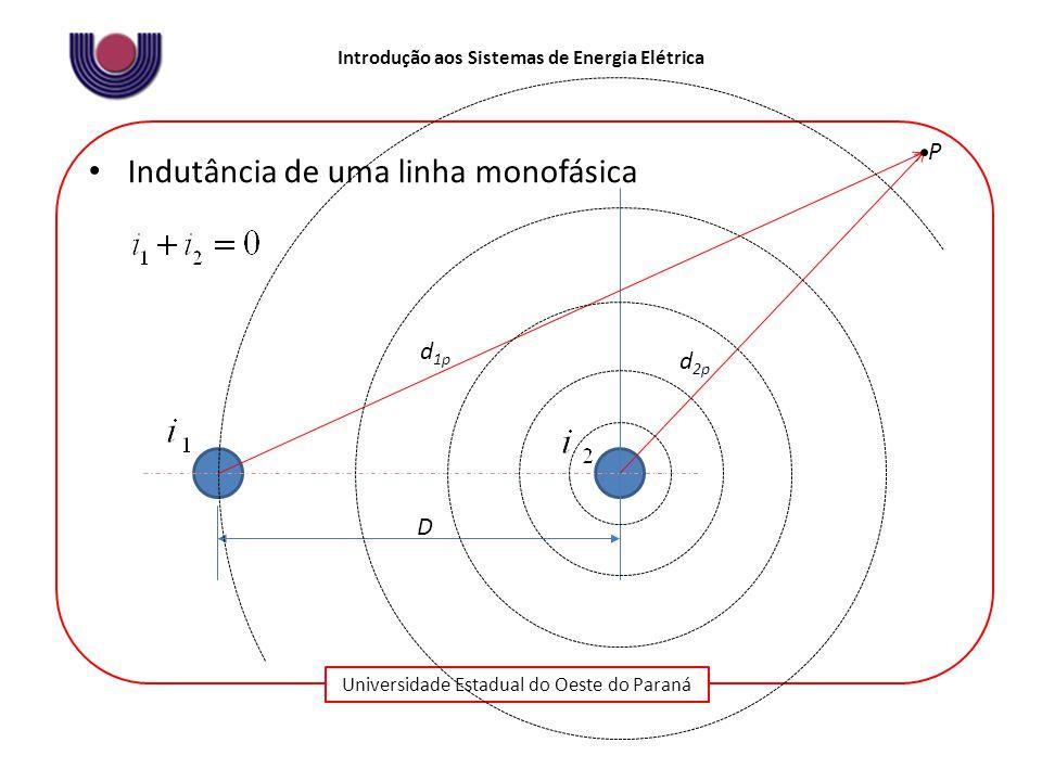 Universidade Estadual do Oeste do Paraná Introdução aos Sistemas de Energia Elétrica Indutância de uma linha monofásica D d 1p d 2p P